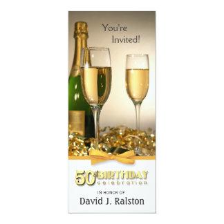 50th födelsedagsfest inbjudan - champagneguld