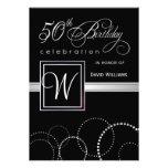 50th födelsedagsfest inbjudan - silverMonogram