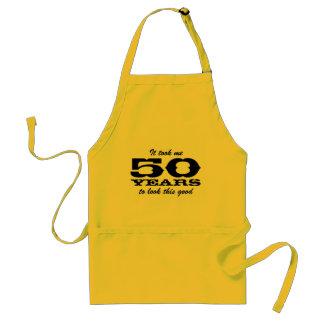 50th För manar | gult för födelsedagbbq-förkläden Förkläde
