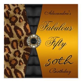 50th för vildsvart för födelsedagsfest femtio guld fyrkantigt 13,3 cm inbjudningskort