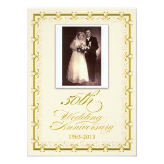 50th Foto för guldbröllopårsdagfirande 14 X 19,5 Cm Inbjudningskort