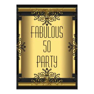 50th Gatsby födelsedagsfest för ART DÉCO sagolika 11,4 X 15,9 Cm Inbjudningskort