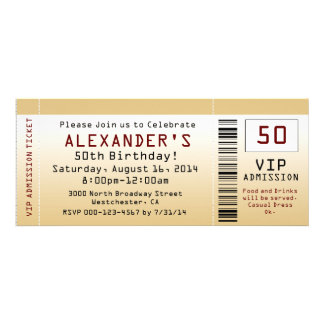 50th Goldtone biljett för födelsedagsfest inbjudan