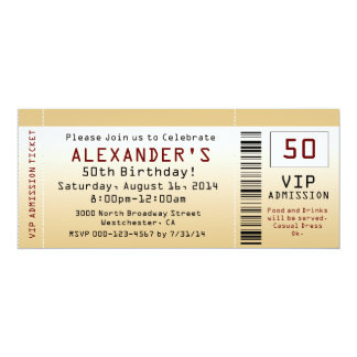 50th Goldtone biljett för födelsedagsfest inbjudan 10,2 X 23,5 Cm Inbjudningskort