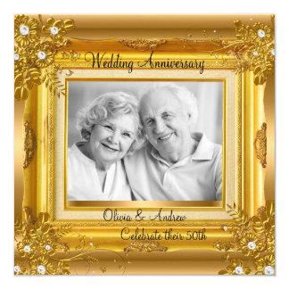 50th Guld- blom- foto för bröllopsdag Fyrkantigt 13,3 Cm Inbjudningskort
