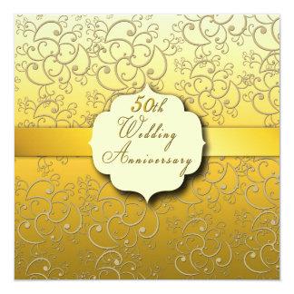 50th guld- bröllopsdag - fyrkantigt 13,3 cm inbjudningskort