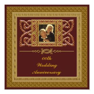 50th Guld- bröllopsdagpartyinbjudan Fyrkantigt 13,3 Cm Inbjudningskort