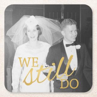 50th Guld- bröllopsdagpersonligfoto Underlägg Papper Kvadrat