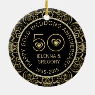 50th Guld- bröllopsdagsvart & guld- glitter Rund Julgransprydnad I Keramik