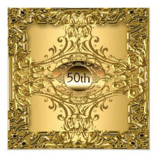 50th Guld- födelsedagsfestlyx Fyrkantigt 13,3 Cm Inbjudningskort