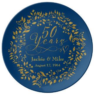 50th Guld- marin för årsdagpersonligguld Porslinstallrik