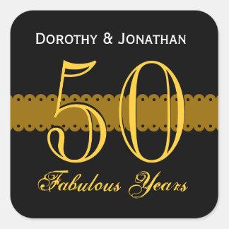 50th Guld- och svart V003 för årsdag Fyrkantigt Klistermärke