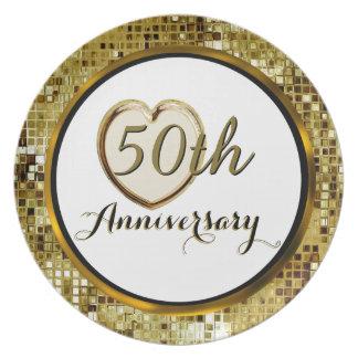 50th Guldbröllopårsdagen pläterar Tallrikar