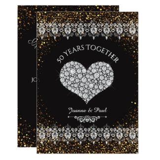 50th Hjärta för bröllopsdagfirandediamant 12,7 X 17,8 Cm Inbjudningskort