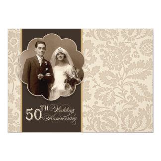 50th inbjudningar för foto för årsdagpartyvintage