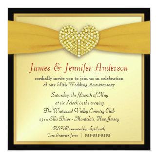 50th Inbjudningar för hjärta för Annniversary