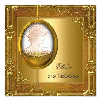50th Juvel för Cameo för födelsedagsfestvit guld- Fyrkantigt 13,3 Cm Inbjudningskort