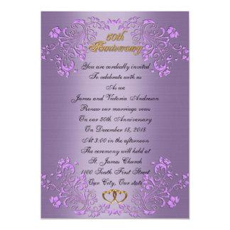 50th Lavendel för bröllopsdagvowförnyande 12,7 X 17,8 Cm Inbjudningskort
