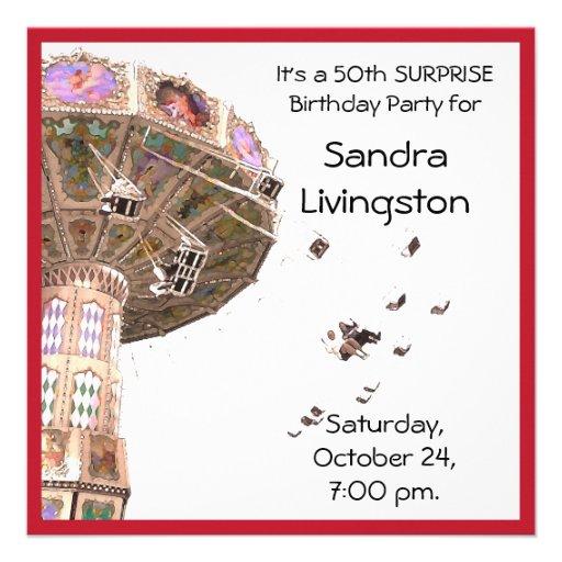 50th Mall för ÖVERRRAKNINGfödelsedagsfestkarusell Anpassningsbara Inbjudningskort