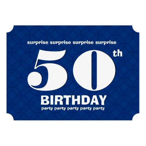 50th ÖVERRRAKNINGblått- och vitfödelsedagsfest v00 Unika Inbjudningar