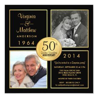 50th Party för guldbröllopårsdagöverrrakning Fyrkantigt 13,3 Cm Inbjudningskort