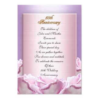 50th ro för lavendel för årsdagpartyinbjudan 12,7 x 17,8 cm inbjudningskort