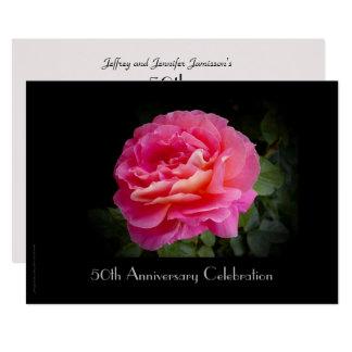 50th Rosa ros för årsdagfirandeinbjudan 12,7 X 17,8 Cm Inbjudningskort