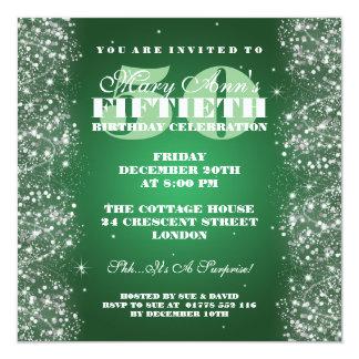 50TH Sparkling glittergrönt för födelsedagsfest Fyrkantigt 13,3 Cm Inbjudningskort