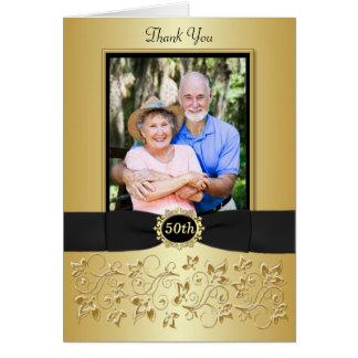 50th Svart guld- blom- tackkort för årsdag OBS Kort