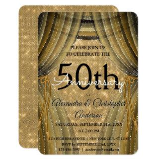 50th Svart och guld- gnistra för bröllopsdag 8,9 X 12,7 Cm Inbjudningskort