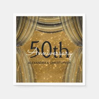 50th Svart och guld- gnistra för bröllopsdag Pappersservett