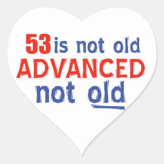 53 år gammala födelsedagdesigner hjärtformat klistermärke