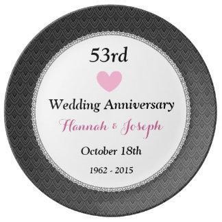53rd Bröllopsdagmörk - grått och rosor A53A Porslinstallrik