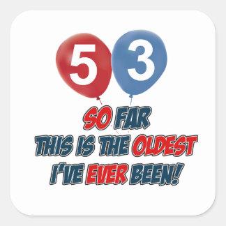 53rd födelsedagdesigner fyrkantigt klistermärke
