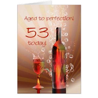 53rd födelsedagkort för plaska vin hälsningskort