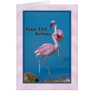 53rd Födelsedagkort med den rosa flamingoen Hälsningskort