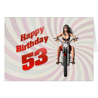 53rd Födelsedagkort med en motorbikeflicka Hälsningskort