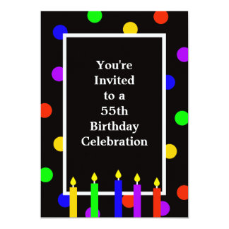 55th Färgrika stearinljus för födelsedagsfest 12,7 X 17,8 Cm Inbjudningskort