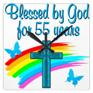 55TH FÖDELSEDAG för KRISTEN Fyrkantig Klocka