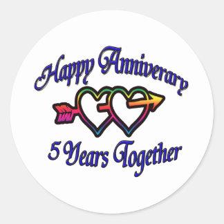5 år tillsammans runt klistermärke