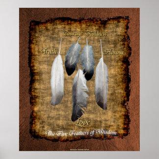 5 fjädrar på Parchmentindianvishet Affisch