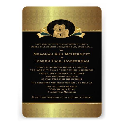 """5 x 7"""" guld- elegant lyxig modern bröllopinbjudan kort för inbjudningar"""