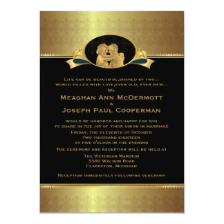 "5 x 7"" guld- elegant lyxig modern bröllopinbjudan 12,7 x 17,8 cm inbjudningskort"