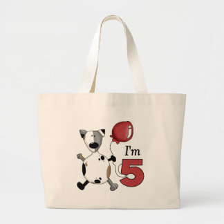5th Birthday Puppy Birthday Gift Canvas Bags