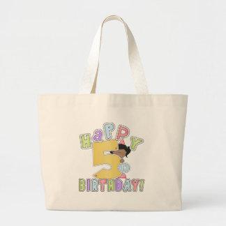 5th födelsedag för flickalycklig, afrikansk amerik jumbo tygkasse