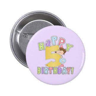 5th födelsedag för flickalycklig standard knapp rund 5.7 cm