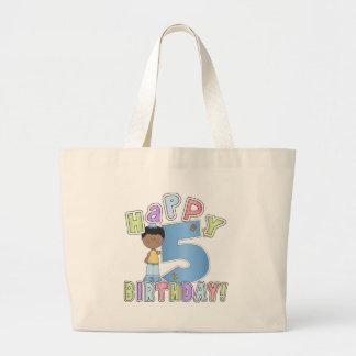 5th födelsedag för pojkelycklig, afrikansk amerika jumbo tygkasse