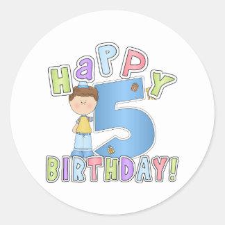 5th födelsedag för pojkelycklig runt klistermärke