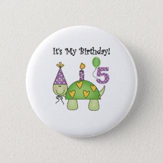 5th födelsedag för sköldpadda standard knapp rund 5.7 cm