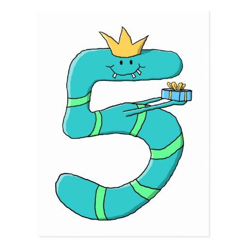 5th Födelsedag tecknadmonster i Teal. Vykort